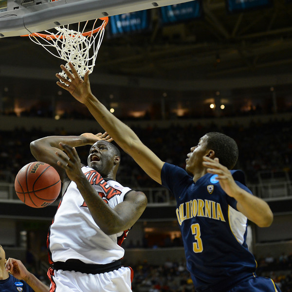 March 21, 2013: UNLV Rebels forward Anthony Bennett (15) loses the ball going up for a shot during a game between the UNLV Rebels and the Cal Golden Bears in the second round of the NCAA Division I Men's Basketball Championship at HP Pavilion in San Jose, California.