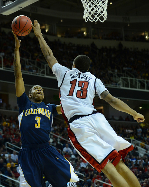 March 21, 2013: California Golden Bears guard Tyrone Wallace (3) shoots over UNLV Rebels guard Bryce Dejean-Jones (13) during a game between the UNLV Rebels and the Cal Golden Bears in the second round of the NCAA Division I Men's Basketball Championship at HP Pavilion in San Jose, California.