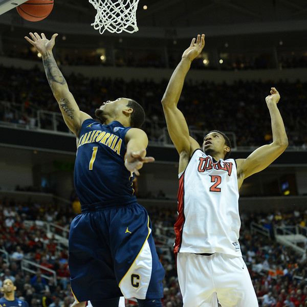 March 21, 2013: California Golden Bears guard Justin Cobbs (1) attempts a layup during a game between the UNLV Rebels and the Cal Golden Bears in the second round of the NCAA Division I Men's Basketball Championship at HP Pavilion in San Jose, California.