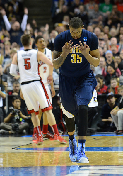 March 21, 2013: California Golden Bears forward Richard Solomon (35) reacts after draining a three pointer during a game between the UNLV Rebels and the Cal Golden Bears in the second round of the NCAA Division I Men's Basketball Championship at HP Pavilion in San Jose, California.