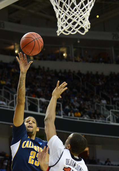 March 21, 2013: California Golden Bears guard Allen Crabbe (23) puts up a shot during a game between the UNLV Rebels and the Cal Golden Bears in the second round of the NCAA Division I Men's Basketball Championship at HP Pavilion in San Jose, California.