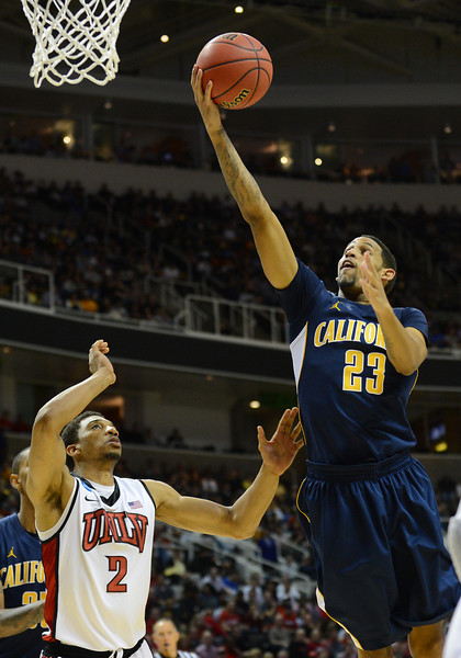 March 21, 2013: California Golden Bears guard Allen Crabbe (23) puts up a layup during a game between the UNLV Rebels and the Cal Golden Bears in the second round of the NCAA Division I Men's Basketball Championship at HP Pavilion in San Jose, California.