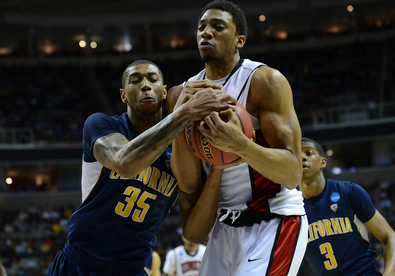 March 21, 2013: California Golden Bears forward Richard Solomon (35) battles for a rebound with UNLV Rebels forward Khem Birch (2) during a game between the UNLV Rebels and the Cal Golden Bears in the second round of the NCAA Division I Men's Basketball Championship at HP Pavilion in San Jose, California.
