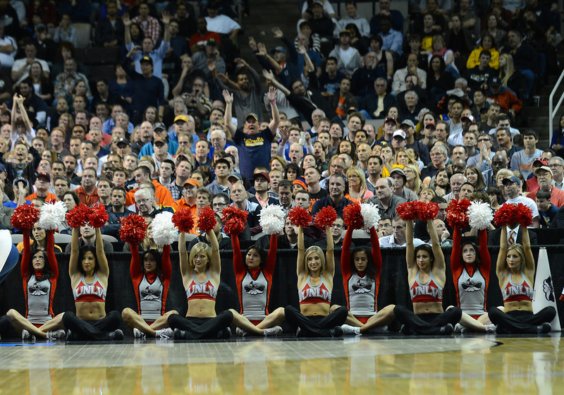 March 21, 2013: A lone California Golden Bears fan stands as UNLV Rebels attempts a free throw during a game between the UNLV Rebels and the Cal Golden Bears in the second round of the NCAA Division I Men's Basketball Championship at HP Pavilion in San Jose, California.