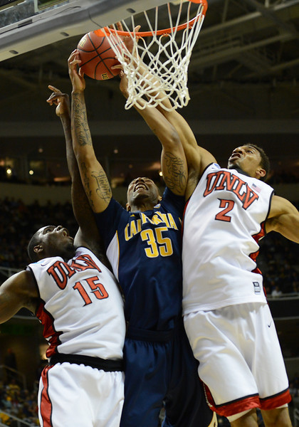 March 21, 2013: California Golden Bears forward Richard Solomon (35) battles UNLV Rebels forward Anthony Bennett (15) and UNLV Rebels forward Khem Birch (2) for a rebound during a game between the UNLV Rebels and the Cal Golden Bears in the second round of the NCAA Division I Men's Basketball Championship at HP Pavilion in San Jose, California.