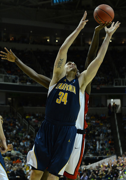 March 21, 2013: California Golden Bears forward Robert Thurman (34) battles for a rebound during a game between the UNLV Rebels and the Cal Golden Bears in the second round of the NCAA Division I Men's Basketball Championship at HP Pavilion in San Jose, California.