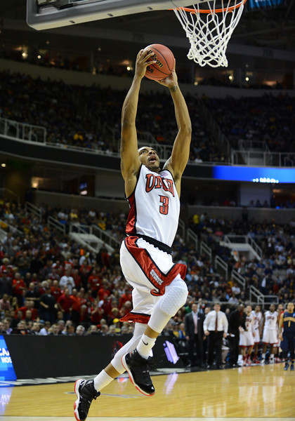 March 21, 2013: UNLV Rebels guard Anthony Marshall (3) goes up for a dunk during a game between the UNLV Rebels and the Cal Golden Bears in the second round of the NCAA Division I Men's Basketball Championship at HP Pavilion in San Jose, California.