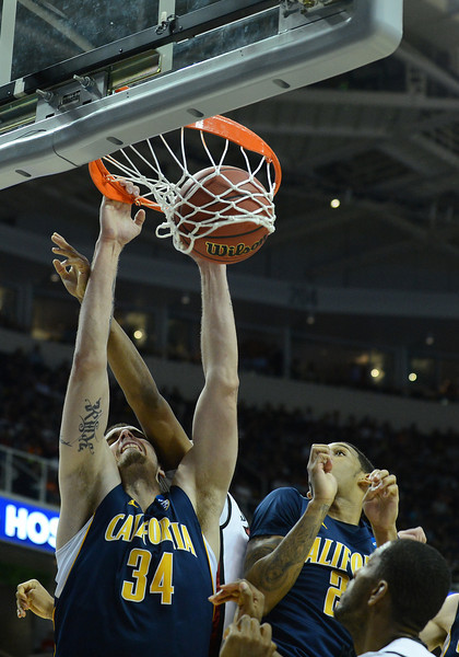 March 21, 2013: California Golden Bears forward Robert Thurman (34) dunks during a game between the UNLV Rebels and the Cal Golden Bears in the second round of the NCAA Division I Men's Basketball Championship at HP Pavilion in San Jose, California.