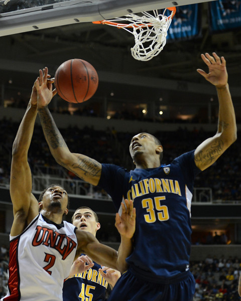 March 21, 2013: UNLV Rebels forward Khem Birch (2) and California Golden Bears forward Richard Solomon (35) battle for a rebound during a game between the UNLV Rebels and the Cal Golden Bears in the second round of the NCAA Division I Men's Basketball Championship at HP Pavilion in San Jose, California.