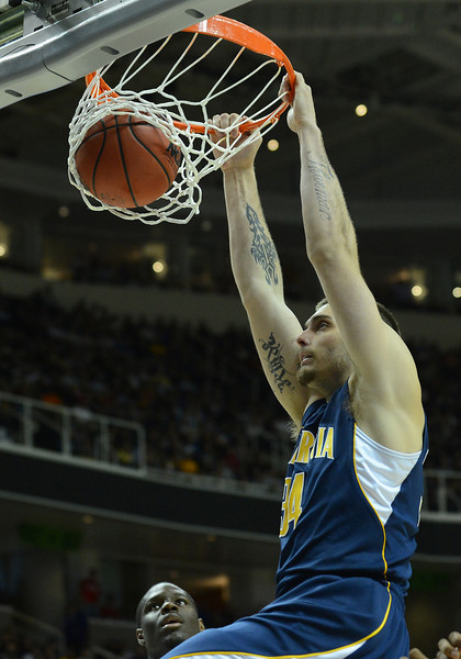 March 21, 2013: California Golden Bears forward Richard Solomon (35) dunks during a game between the UNLV Rebels and the Cal Golden Bears in the second round of the NCAA Division I Men's Basketball Championship at HP Pavilion in San Jose, California.