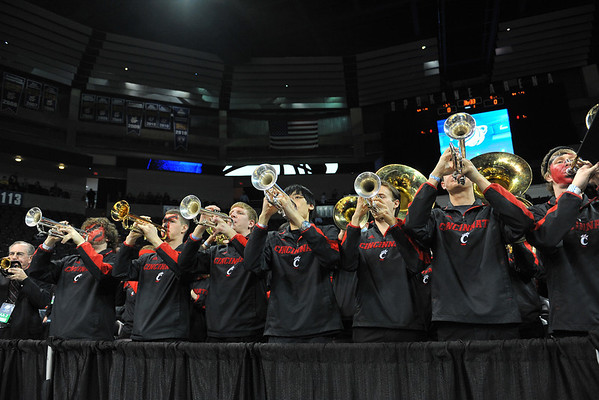 March 20, 2014: The Cincinnati pep band plays before a second round game of the NCAA Division I Men's Basketball Championship between the 5-seed Cincinnati Bearcats and the 12-seed Harvard Crimson at Spokane Arena in Spokane, Wash. Harvard defeated Cincinnati 61-57.