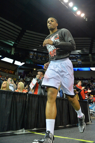 March 20, 2014: A member of the Cincinnati Bearcats takes the court before a second round game of the NCAA Division I Men's Basketball Championship between the 5-seed Cincinnati Bearcats and the 12-seed Harvard Crimson at Spokane Arena in Spokane, Wash. Harvard defeated Cincinnati 61-57.