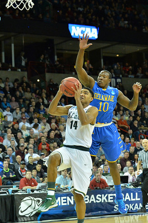 March 20, 2014: Michigan State Spartans guard Gary Harris (14) drives to the basket during a second round game of the NCAA Division I Men's Basketball Championship between the 4-seed Michigan State and the 13-seed Delaware at Spokane Arena in Spokane, Wash. Michigan State defeated Delaware 93-78.