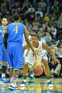 March 20, 2014: Michigan State Spartans guard Keith Appling (11) plays defense during a second round game of the NCAA Division I Men's Basketball Championship between the 4-seed Michigan State and the 13-seed Delaware at Spokane Arena in Spokane, Wash. Michigan State defeated Delaware 93-78.