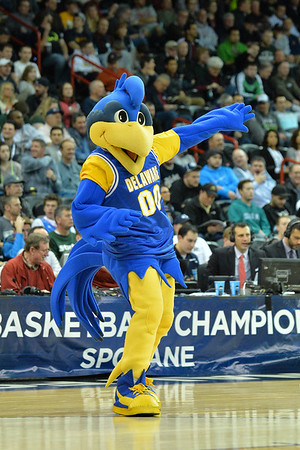 March 20, 2014: The Delaware Fightin' Blue Hens mascot YoUDee performs during a second round game of the NCAA Division I Men's Basketball Championship between the 4-seed Michigan State and the 13-seed Delaware at Spokane Arena in Spokane, Wash. Michigan State defeated Delaware 93-78.