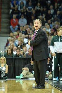 March 20, 2014: Michigan State Spartans head coach Tom Izzo shouts instructions to his team during a second round game of the NCAA Division I Men's Basketball Championship between the 4-seed Michigan State and the 13-seed Delaware at Spokane Arena in Spokane, Wash. Michigan State defeated Delaware 93-78.