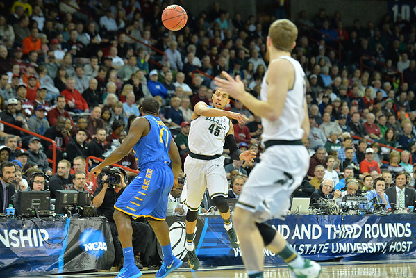 March 20, 2014: Michigan State Spartans guard Denzel Valentine (45) throws an outlet pass to a teammate during a second round game of the NCAA Division I Men's Basketball Championship between the 4-seed Michigan State and the 13-seed Delaware at Spokane Arena in Spokane, Wash. Michigan State defeated Delaware 93-78.