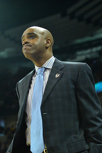 March 20, 2014: Delaware Fightin' Blue Hens head coach Monté Ross reacts to a call during a second round game of the NCAA Division I Men's Basketball Championship between the 4-seed Michigan State and the 13-seed Delaware at Spokane Arena in Spokane, Wash. Michigan State defeated Delaware 93-78.