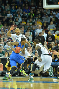 March 20, 2014: Michigan State Spartans forward Adreian Payne (5) guards the paint during a second round game of the NCAA Division I Men's Basketball Championship between the 4-seed Michigan State and the 13-seed Delaware at Spokane Arena in Spokane, Wash. Michigan State defeated Delaware 93-78.