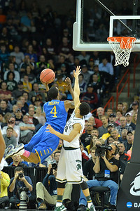 March 20, 2014: Delaware Fightin' Blue Hens guard Jarvis Threatt (4) puts up a wild shot during a second round game of the NCAA Division I Men's Basketball Championship between the 4-seed Michigan State and the 13-seed Delaware at Spokane Arena in Spokane, Wash. Michigan State defeated Delaware 93-78.