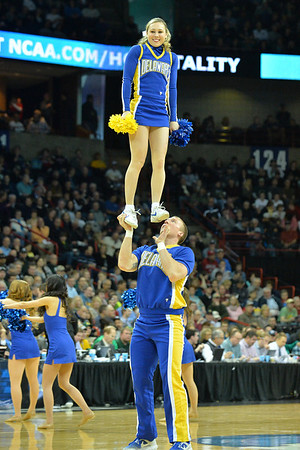 March 20, 2014: Delaware Fightin' Blue Hens cheerleaders perform during a second round game of the NCAA Division I Men's Basketball Championship between the 4-seed Michigan State and the 13-seed Delaware at Spokane Arena in Spokane, Wash. Michigan State defeated Delaware 93-78.