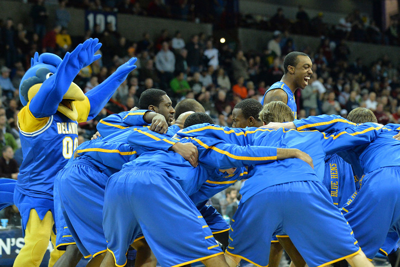 March 20, 2014: The Delaware Fightin' Blue Hens players perform a pre-game dance before a second round game of the NCAA Division I Men's Basketball Championship between the 4-seed Michigan State and the 13-seed Delaware at Spokane Arena in Spokane, Wash. Michigan State defeated Delaware 93-78.