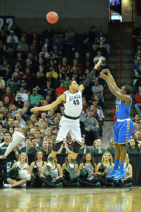 March 20, 2014: Delaware Fightin' Blue Hens guard Davon Usher (0) shoots over Michigan State Spartans guard Denzel Valentine (45) during a second round game of the NCAA Division I Men's Basketball Championship between the 4-seed Michigan State and the 13-seed Delaware at Spokane Arena in Spokane, Wash. Michigan State defeated Delaware 93-78.