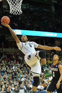 March 22, 2014: during a third round game of the NCAA Division I Men's Basketball Championship between the 4-seed Michigan State and the 12-seed Harvard at Spokane Arena in Spokane, Wash. Michigan State defeated Harvard 80-73 to advance to the Sweet Sixteen.