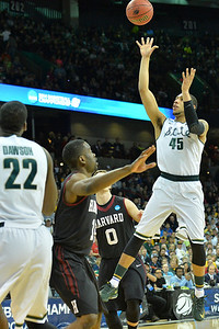 March 22, 2014: Michigan State Spartans guard Denzel Valentine (45) puts up a shot during a third round game of the NCAA Division I Men's Basketball Championship between the 4-seed Michigan State and the 12-seed Harvard at Spokane Arena in Spokane, Wash. Michigan State defeated Harvard 80-73 to advance to the Sweet Sixteen.