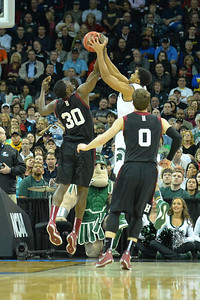 March 22, 2014: Harvard Crimson forward Kyle Casey (30) battles for a rebound during a third round game of the NCAA Division I Men's Basketball Championship between the 4-seed Michigan State and the 12-seed Harvard at Spokane Arena in Spokane, Wash. Michigan State defeated Harvard 80-73 to advance to the Sweet Sixteen.