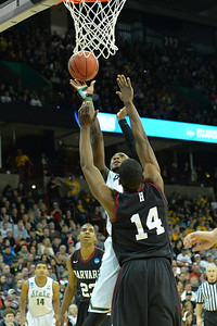 March 22, 2014: Michigan State Spartans guard/forward Branden Dawson (22) puts up a shot during a third round game of the NCAA Division I Men's Basketball Championship between the 4-seed Michigan State and the 12-seed Harvard at Spokane Arena in Spokane, Wash. Michigan State defeated Harvard 80-73 to advance to the Sweet Sixteen.