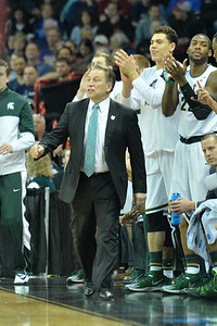 March 22, 2014: Michigan State Spartans head coach Tom Izzo shouts instructions to his team during a third round game of the NCAA Division I Men's Basketball Championship between the 4-seed Michigan State and the 12-seed Harvard at Spokane Arena in Spokane, Wash. Michigan State defeated Harvard 80-73 to advance to the Sweet Sixteen.