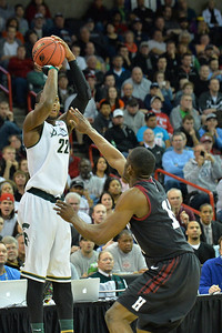 March 22, 2014: Michigan State Spartans guard/forward Branden Dawson (22) shoots a jumper during a third round game of the NCAA Division I Men's Basketball Championship between the 4-seed Michigan State and the 12-seed Harvard at Spokane Arena in Spokane, Wash. Michigan State defeated Harvard 80-73 to advance to the Sweet Sixteen.