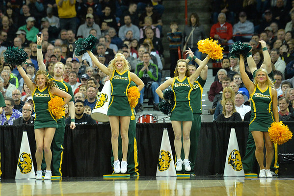 March 20, 2014: North Dakota State Bison cheerleaders celebrate a basket during a second round game of the NCAA Division I Men's Basketball Championship between the 5-seed Oklahoma and the 12-seed North Dakota State at Spokane Arena in Spokane, Wash. North Dakota State defeated Oklahoma 80-75 in overtime.