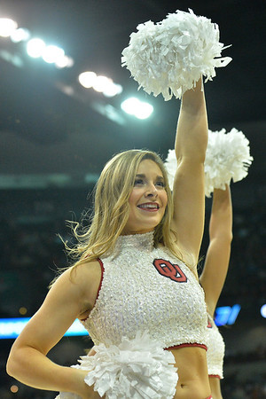 March 20, 2014: An Oklahoma Sooners cheerleader performs during a second round game of the NCAA Division I Men's Basketball Championship between the 5-seed Oklahoma and the 12-seed North Dakota State at Spokane Arena in Spokane, Wash. North Dakota State defeated Oklahoma 80-75 in overtime.