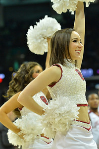 March 20, 2014: Oklahoma Sooners cheerleaders perform during a second round game of the NCAA Division I Men's Basketball Championship between the 5-seed Oklahoma and the 12-seed North Dakota State at Spokane Arena in Spokane, Wash. North Dakota State defeated Oklahoma 80-75 in overtime.