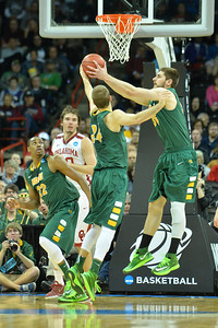 March 20, 2014: North Dakota State Bison forward Chris Kading (34) grabs a rebound during a second round game of the NCAA Division I Men's Basketball Championship between the 5-seed Oklahoma and the 12-seed North Dakota State at Spokane Arena in Spokane, Wash. North Dakota State defeated Oklahoma 80-75 in overtime.