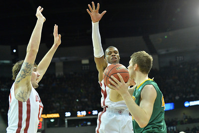 March 20, 2014: North Dakota State Bison forward Jordan Aaberg (44) is trapped by a pair of Oklahoma Sooners defender during a second round game of the NCAA Division I Men's Basketball Championship between the 5-seed Oklahoma and the 12-seed North Dakota State at Spokane Arena in Spokane, Wash. North Dakota State defeated Oklahoma 80-75 in overtime.