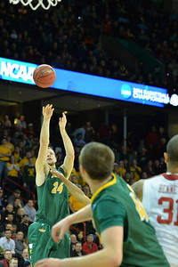 March 20, 2014: North Dakota State Bison guard Taylor Braun (24) shoots a three pointer during a second round game of the NCAA Division I Men's Basketball Championship between the 5-seed Oklahoma and the 12-seed North Dakota State at Spokane Arena in Spokane, Wash. North Dakota State defeated Oklahoma 80-75 in overtime.