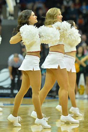 March 20, 2014: Oklahoma Sooners cheerleaders per for, during a second round game of the NCAA Division I Men's Basketball Championship between the 5-seed Oklahoma and the 12-seed North Dakota State at Spokane Arena in Spokane, Wash. North Dakota State defeated Oklahoma 80-75 in overtime.