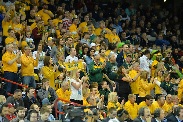 March 20, 2014: North Dakota State Bison fans celebrate during a second round game of the NCAA Division I Men's Basketball Championship between the 5-seed Oklahoma and the 12-seed North Dakota State at Spokane Arena in Spokane, Wash. North Dakota State defeated Oklahoma 80-75 in overtime.