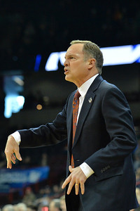 March 20, 2014: Oklahoma Sooners head coach Lon Kruger gives his team instructions during a second round game of the NCAA Division I Men's Basketball Championship between the 5-seed Oklahoma and the 12-seed North Dakota State at Spokane Arena in Spokane, Wash. North Dakota State defeated Oklahoma 80-75 in overtime.