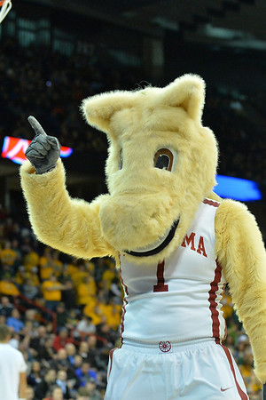 March 20, 2014: The Oklahoma Sooners mascot performs during a second round game of the NCAA Division I Men's Basketball Championship between the 5-seed Oklahoma and the 12-seed North Dakota State at Spokane Arena in Spokane, Wash. North Dakota State defeated Oklahoma 80-75 in overtime.