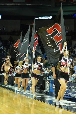 March 20, 2014: San Diego State Aztecs cheerleaders usher out the Aztecs before a second round game of the NCAA Division I Men's Basketball Championship between the 4-seed San Diego State Aztecs and the 13-seed New Mexico State Aggies at Spokane Arena in Spokane, Wash. San Diego State defeated New Mexico State 73-69 in overtime.
