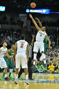 March 22, 2014: San Diego State Aztecs forward Skylar Spencer (0) wins the tip off during a third round game of the NCAA Division I Men's Basketball Championship between the 4-seed San Diego State and the 12-seed North Dakota State at Spokane Arena in Spokane, Wash. San Diego State defeated North Dakota State 66-43 to advance to the Sweet Sixteen.