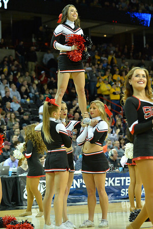 March 22, 2014: San Diego State Aztecs cheerleaders perform during a third round game of the NCAA Division I Men's Basketball Championship between the 4-seed San Diego State and the 12-seed North Dakota State at Spokane Arena in Spokane, Wash. San Diego State defeated North Dakota State 66-43 to advance to the Sweet Sixteen.
