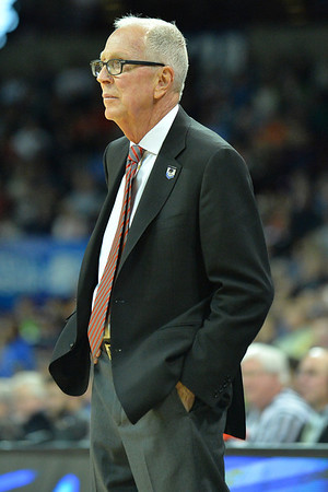 March 22, 2014: San Diego State Aztecs head coach Steve Fisher watches the action during a third round game of the NCAA Division I Men's Basketball Championship between the 4-seed San Diego State and the 12-seed North Dakota State at Spokane Arena in Spokane, Wash. San Diego State defeated North Dakota State 66-43 to advance to the Sweet Sixteen.