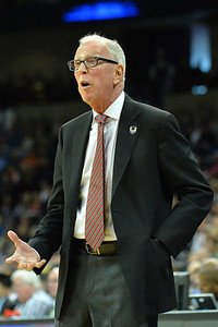 March 22, 2014: San Diego State Aztecs head coach Steve Fisher talks to his team during a third round game of the NCAA Division I Men's Basketball Championship between the 4-seed San Diego State and the 12-seed North Dakota State at Spokane Arena in Spokane, Wash. San Diego State defeated North Dakota State 66-43 to advance to the Sweet Sixteen.