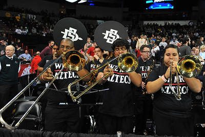March 22, 2014: The San Diego State Aztecs pep band plays during a third round game of the NCAA Division I Men's Basketball Championship between the 4-seed San Diego State and the 12-seed North Dakota State at Spokane Arena in Spokane, Wash. San Diego State defeated North Dakota State 66-43 to advance to the Sweet Sixteen.