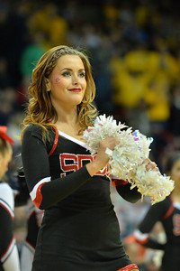 March 22, 2014: A San Diego State Aztecs cheerleader performs during a third round game of the NCAA Division I Men's Basketball Championship between the 4-seed San Diego State and the 12-seed North Dakota State at Spokane Arena in Spokane, Wash. San Diego State defeated North Dakota State 66-43 to advance to the Sweet Sixteen.